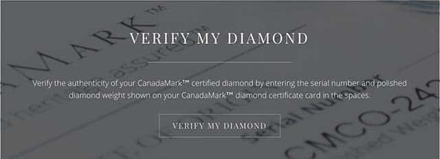 Verify CanadaMark Diamond Registry