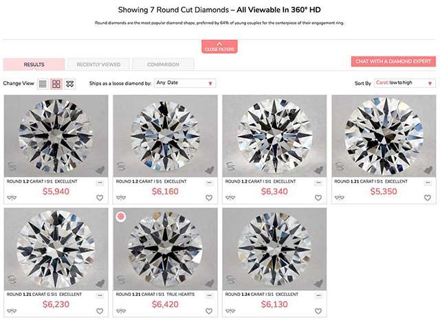 James Allen GIA Excellent cut diamonds.