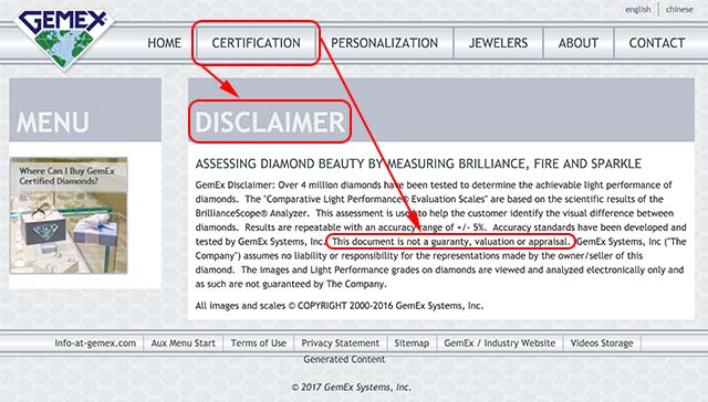 Astor by Blue Nile diamond, GemEx certification disclaimer