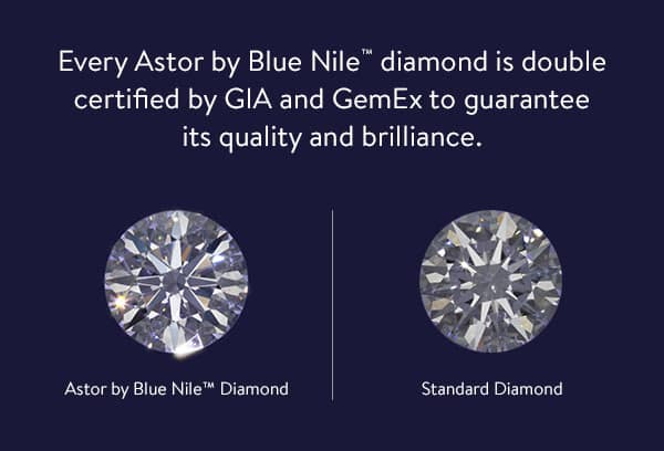 Astor by Blue Nile Diamonds are double certified by the GIA and GemEx