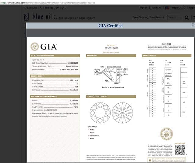 Blue Nile Astor diamond reviews, LD09203487, GIA 5253313488