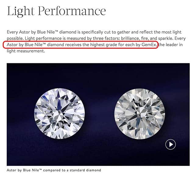 Light Performance of the Astor by Blue Nile diamonds, GemEx claim