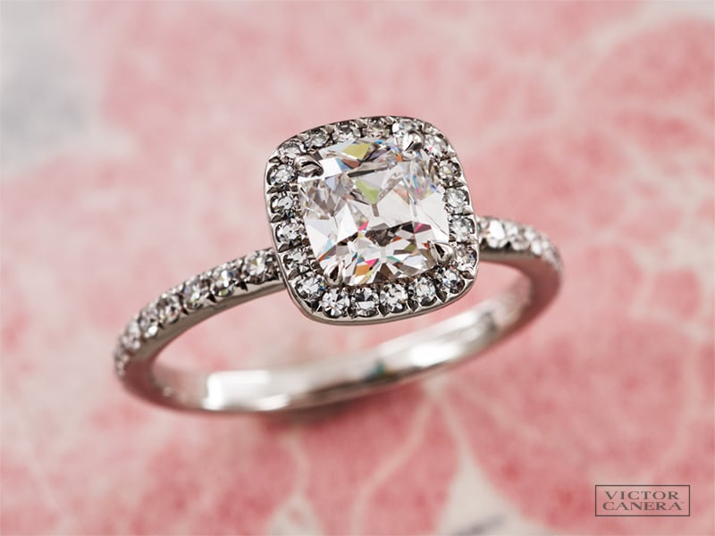 Victor Canera Emilya halo setting with Antique Cushion cut diamond center