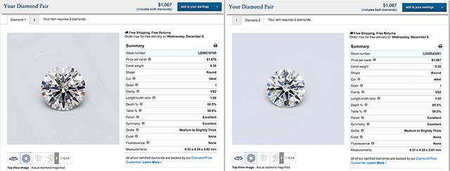 Blue Nile build your own diamond stud earrings, LD09510700-LD09543281
