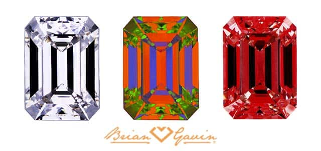 Brian Gavin Signature Emerald cut diamond reviews, ASET, Ideal Scope images