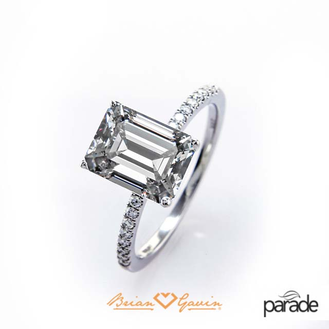 /'brilyens/ Brian Gavin Signature Emerald cut diamond set in Parade Design engagement ring.