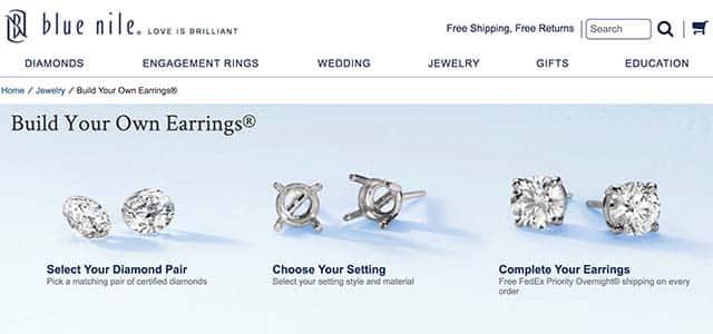 Build your own diamond stud earrings on Blue Nile