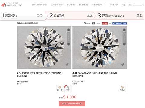 How to choose diamond stud earrings on James Allen, SKU 3667492-3314265