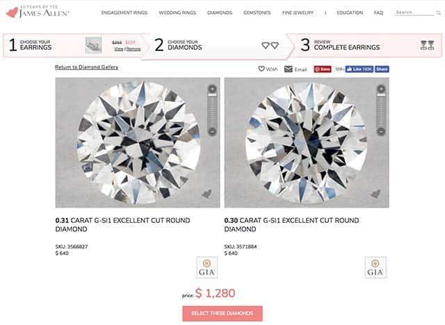 James Allen diamond stud earrings review, SKU 3566827 and 3571884