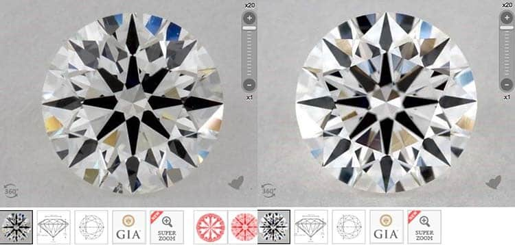 James Allen True Hearts versus GIA Excellent cut diamonds, GIA 2175891613 versus 1182742562 clarity photographs