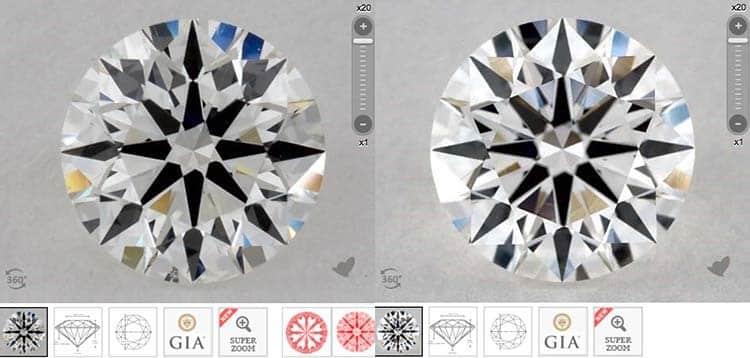 James Allen True Hearts versus GIA Excellent cut diamonds, GIA 2175891613 versus 1182742562 clarity photographs