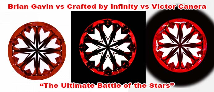 Brian Gavin vs Crafted by Infinity vs Victor Canera hearts and arrows diamonds