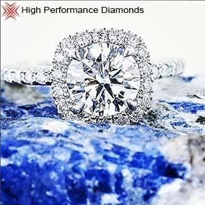 Custom halo diamond engagement ring by High Performance Diamonds