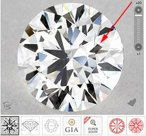 James Allen True Hearts diamonds vis GIA Excellent cut, SKU 4401419, GIA 1289019289 cavity