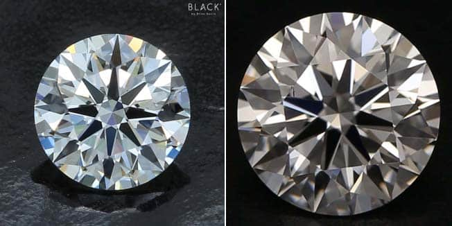 One carat diamond comparison, Black by Brian Gavin on the left, Blue Nile LD10291469, GIA 1289718328 on the right