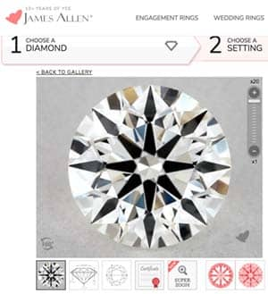 Where to find ASET Scope images for James Allen True Hearts diamond, AGS 104093760004