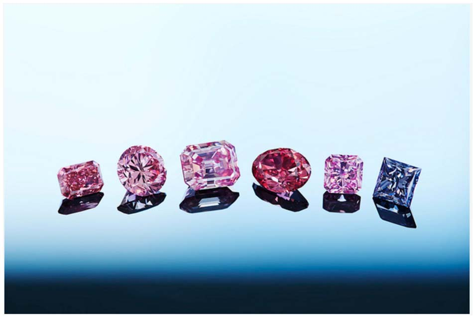 Fancy pink diamonds from the Argyle Diamond Mine operated by the Rio Tinto Mining Group, Photo Credit Rio Tinto