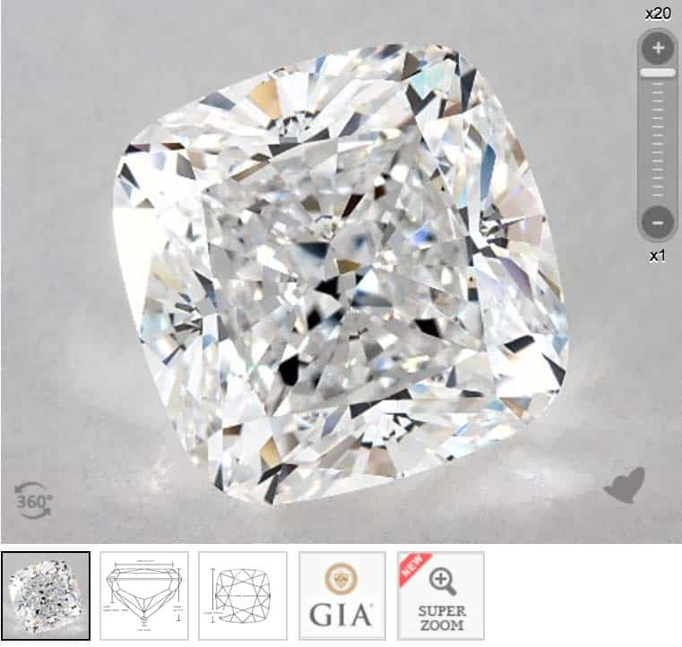 James Allen Cushion cut diamond, GIA 2195451259