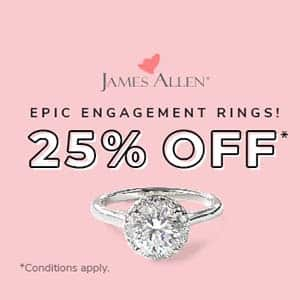 James Allen diamond engagement ring coupons, discounts, promotional codes, 25 percent off