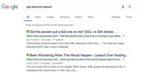 Consumer Inquiry EGL Graded Diamonds Lawsuit