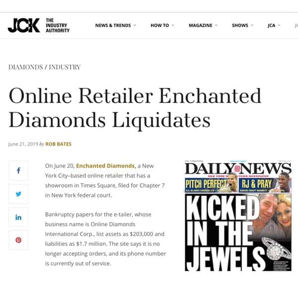 JCK Magazine Enchanted Diamonds Files Bankruptcy