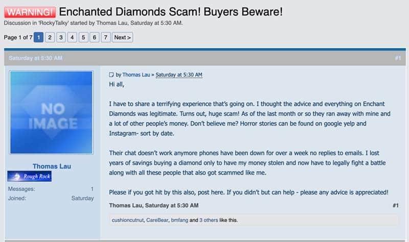 Enchanted Diamonds Warning
