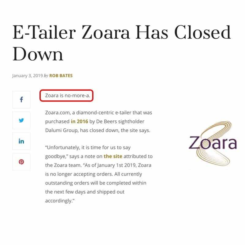 Online Diamond Retailer Zoara Closed 2019