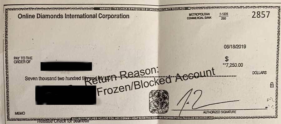 Enchanted Diamonds Online Diamonds International Check Returned Account Frozen