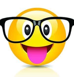 Nerd emoji with tongue.