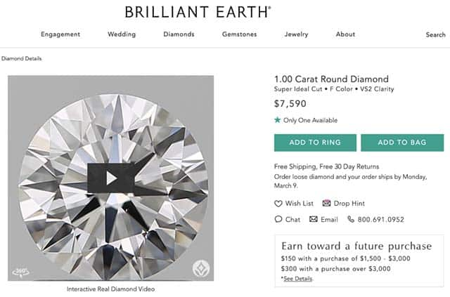 Super Ideal Cut Diamond Brilliant Earth