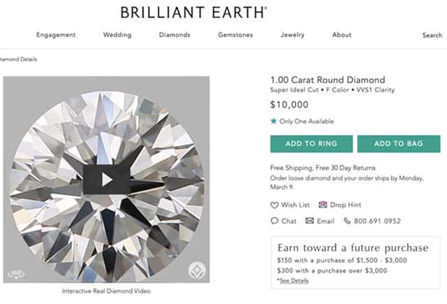 Brilliant Earth Super Ideal Cut Diamonds