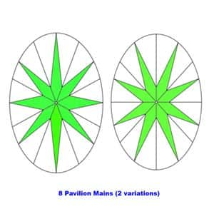 Oval cut diamond 8 pavilion main facets