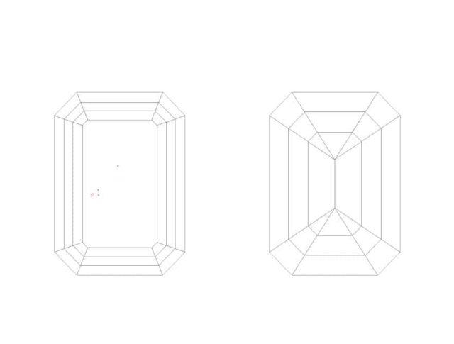 Step-cut diamonds facet patterns.