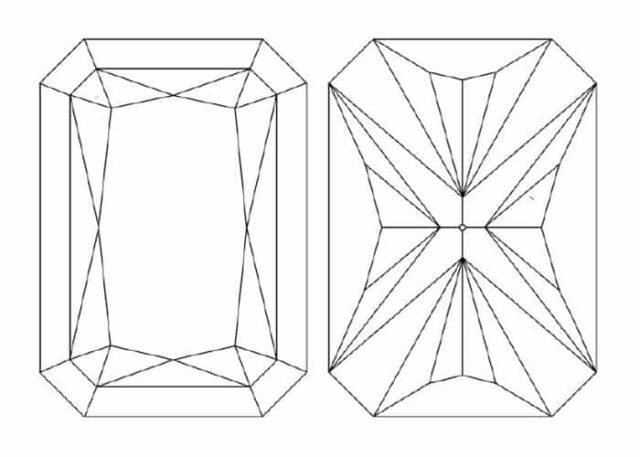 Example of facet structure for rectangular brilliant.