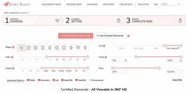 Advanced Settings for Diamond Search.