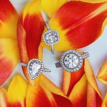 Halo Settings for Round, Pear-shape, and Cushion cut diamonds.