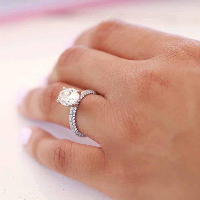 Trio Micro Pavé Setting 2 Carat Diamond Ring