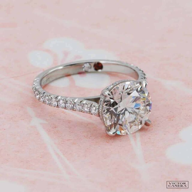 Evelyn Pave Solitaire Engagement Ring