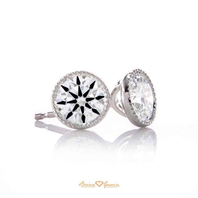 Diamond Stud Earrings Milgrain Halo