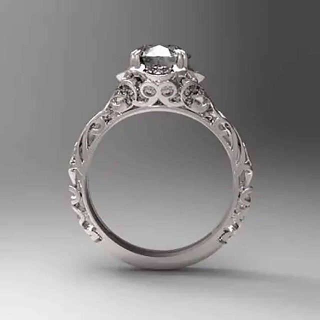 CAD Rendering Vintage Filigree Ring