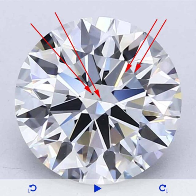 Example of VS2 Diamond Clarity Grades.
