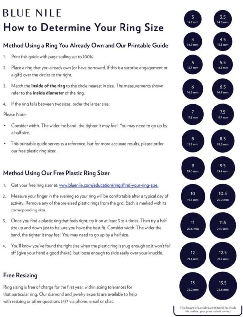 Ring Size Chart Guide.