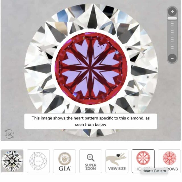 James Allen True Hearts and Arrows Diamonds Pattern Example.