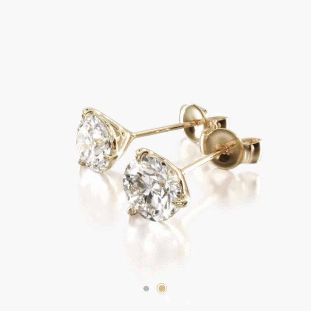 3-prong Martini Style Diamond Studs by James Allen.