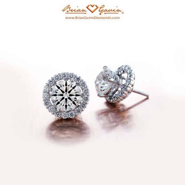 4-prong Basket Style Diamond Studs with Halo Jackets by Brian Gavin.