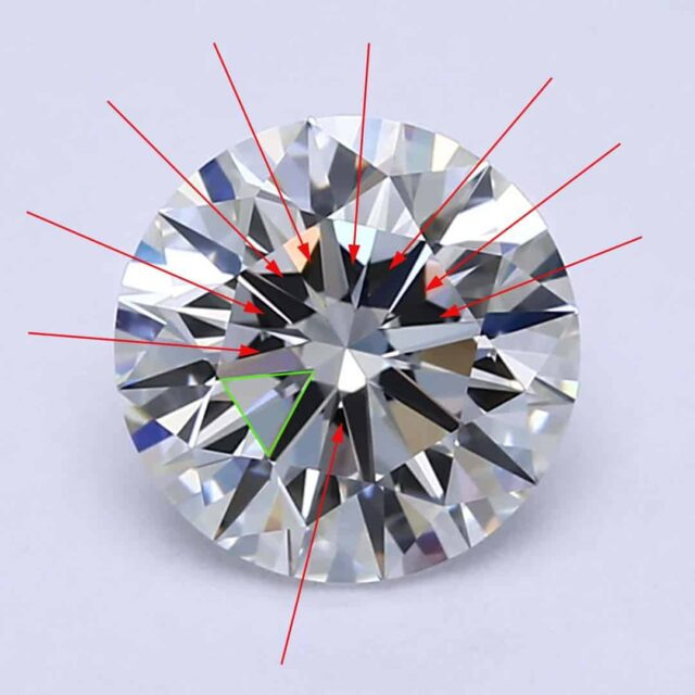 Heavy Obstruction Under Table Facet GIA Excellent Cut Diamond.