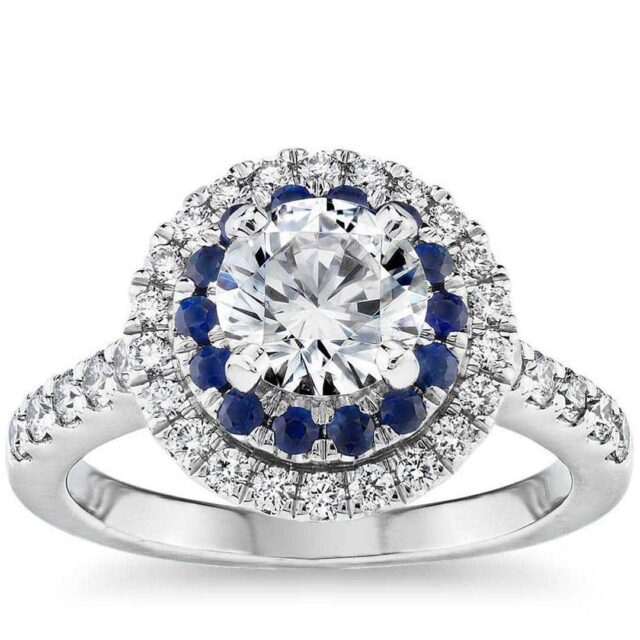 Sapphire and Diamond Double Halo Engagement Ring.