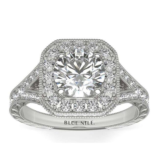 Hand engraved milgrain vintage halo style engagement ring Blue Nile.