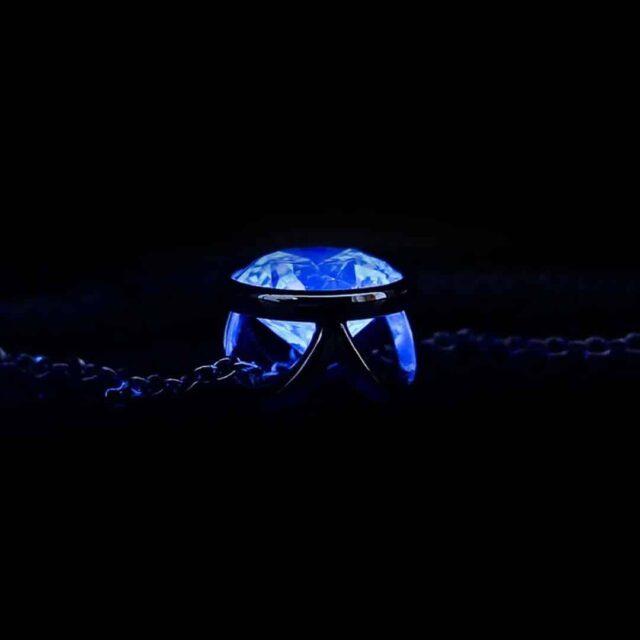 Diamond Blue Fluorescence Bezel Set Pendant Brian Gavin.