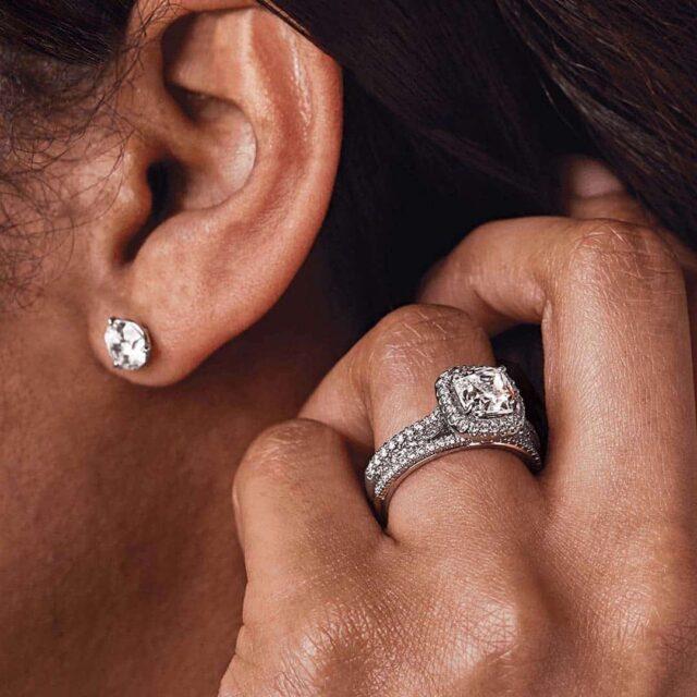 Diamond Stud Earrings and Halo Setting by Ritani.
